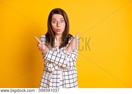 Photo Portrait Of Funny Surprised Lady Student Wear White Checkered Blazer Made Lips Pouted Pointing
