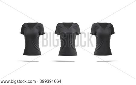 Blank Black Women Slimfit T-shirt Mockup, Front And Side View, 3d Rendering. Empty V-neck Spandex Or