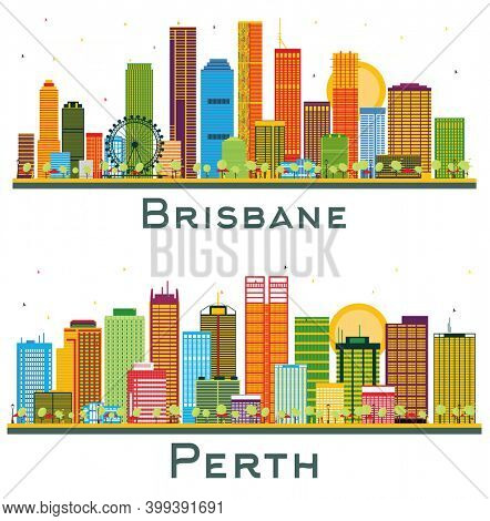 Brisbane and Perth Australia City Skyline Set with Color Buildings Isolated on White.