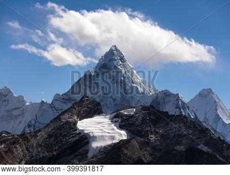 Mount Ama Dablam Within Clouds, Way To Everest Base Camp, Khumbu Valley, Sagarmatha National Park, E