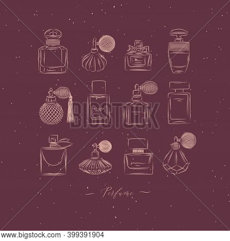 Perfume Bottles For Fragrance Set Drawing In Vintage Style On Red Background
