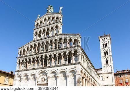 Lucca, Italy - Circa September 2018. Beautiful Architecture Of Catholic Church (chiesa Di San Michel