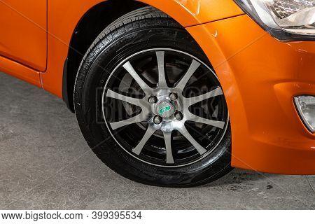 Novosibirsk, Russia - December 12, 2020: Hyundai Solaris, Close Up Of Car Wheel On A Car