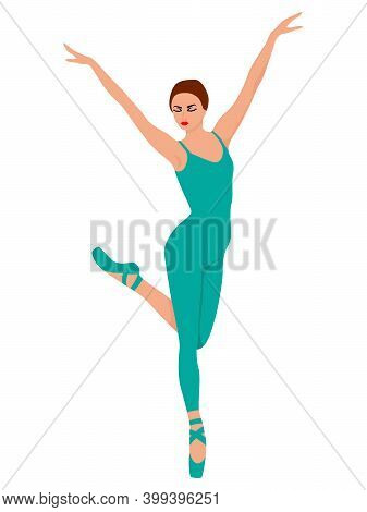 Beautiful Ballerina In Turquoise Leotard With Pants, Hand Drawing Vector, Isolated On The White Back