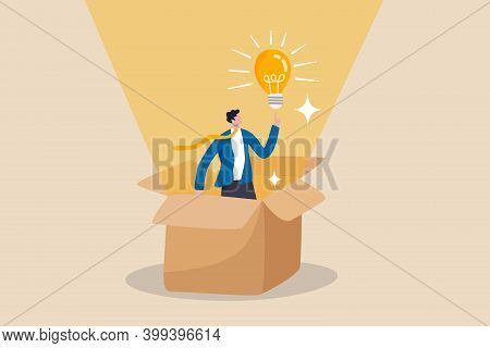 Think Outside The Box, Creativity To Create Different Business Idea Or Motivation And Innovation Con