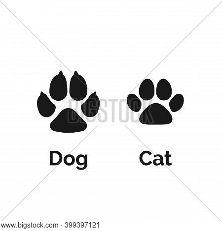 Cat And Dog Black Paw Print. Pets Paw Silhouette. Vector Illustration
