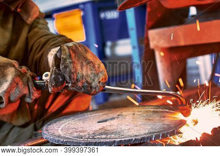 Metal Cutting With Acetylene Torch Close-up. Metal Cutter. Metal Cutting With Acetylene And Oxygen G