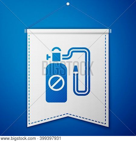 Blue Pressure Sprayer For Extermination Of Insects Icon Isolated On Blue Background. Pest Control Se