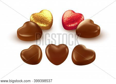 Set Of Realistic Heart Shaped Chocolates Wrapped In Foil Candy Wrapper. Festive Design Element For H