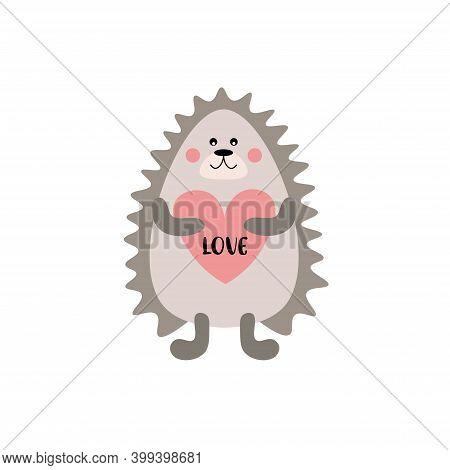Kids Cartoon Illustration Of A Cute Baby Hedgehog. Valentine's Day. Baby Valentine. Baby Shower. Lov