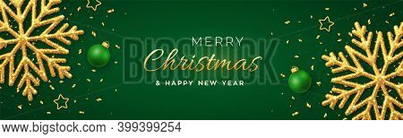 Christmas Green Background With Shining Golden Snowflakes, Gold Stars And Balls. Merry Christmas Gre