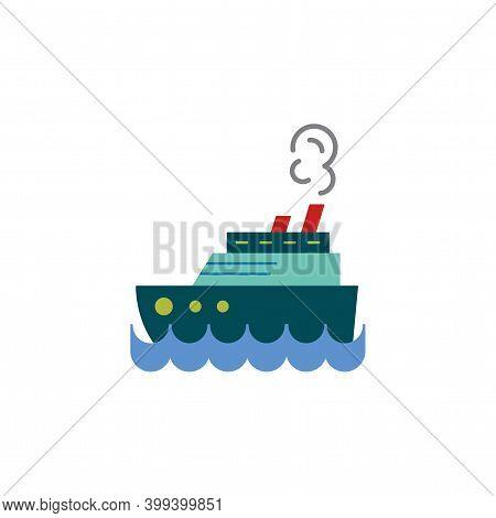Steamship Color, Steamboat, Cruise Sea Ship Icon Vector. Simple Sign, Logo.