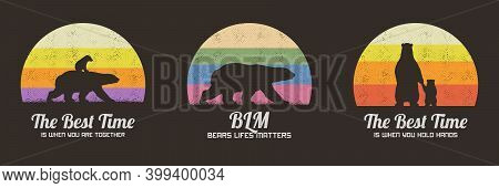 Set Of Multicolor Retro Illustrations With Silhouettes Of Polar Bears. Animal Mother And Child. Text
