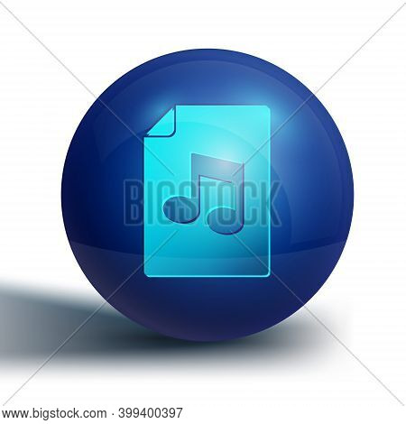 Blue Music Book With Note Icon Isolated On White Background. Music Sheet With Note Stave. Notebook F