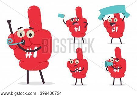 Cute Number 1 Fan Finger Vector Cartoon Characters Set Isolated On White Background.