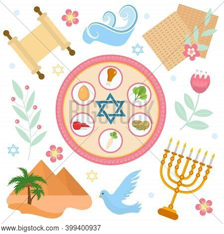 Passover Icons Set. Flat, Cartoon Style. Jewish Holiday Of Exodus Egypt. Collection With Seder Plate