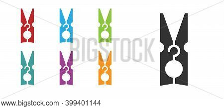 Black Old Wood Clothes Pin Icon Isolated On White Background. Clothes Peg. Set Icons Colorful. Vecto