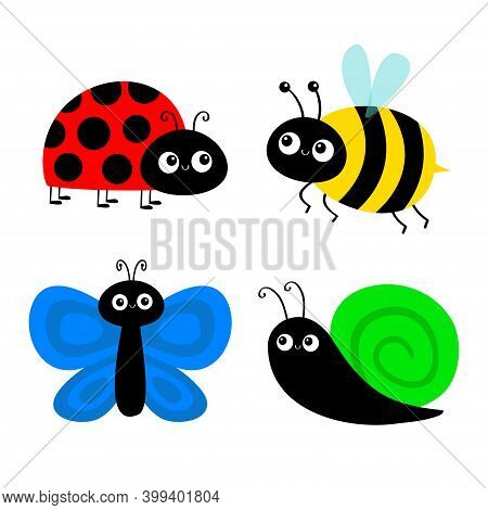 Bee Bumblebee, Butterfly, Snail Cochlea, Lady Bug Ladybird Flying Insect Icon Set. Ladybug. Cute Car