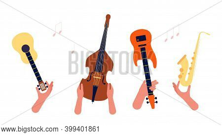 Hands Holding Music Instruments. Guitar, Strings And Winds Musical Orchestra Vector Banner. Illustra