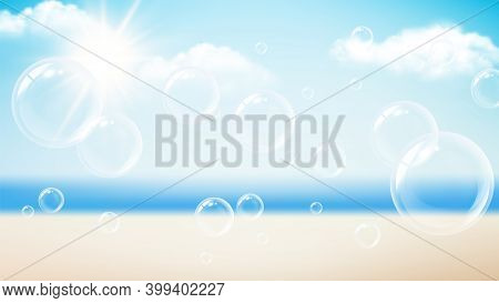 Transparent Bubbles. Summer Vacation Background, Beach Ocean Sun Day. Flying Soap Foam, Water Bubble
