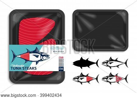 Vector Black Tray Tuna Packaging Illustration