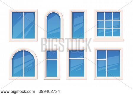 Windows. Architectural Glass Object Window Rame Different Types Outdoor Garish Vector Set. Illustrat