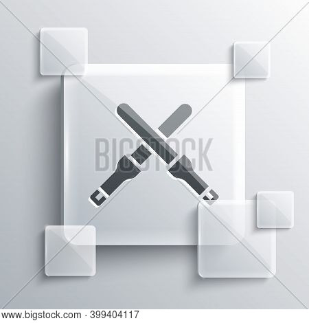 Grey Marshalling Wands For The Aircraft Icon Isolated On Grey Background. Marshaller Communicated Wi