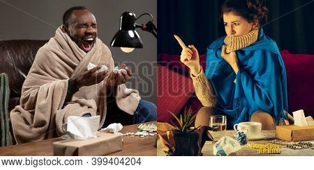 Collage Of Ill Man Feeling Sick And Healthy Woman Avoiding Virus Spreading With Panic. Seasonal, Cor