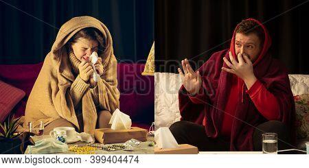 Collage Of Ill Woman Feeling Sick And Healthy Man Avoiding Virus Spreading With Panic. Seasonal, Cor