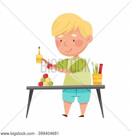 Inventive Boy Engaged In Upcycling Reusing Recyclable Material Vector Illustration