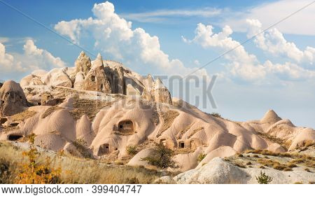 stone house in Cappadocia, Turkey at sunset time