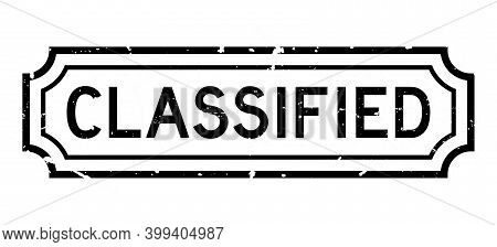 Grunge Black Classified Word Rubber Seal Stamp On White Background