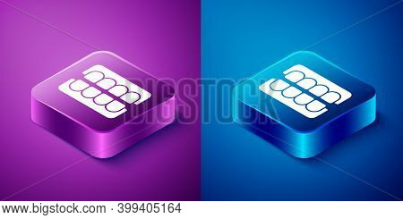 Isometric False Jaw Icon Isolated On Blue And Purple Background. Dental Jaw Or Dentures, False Teeth