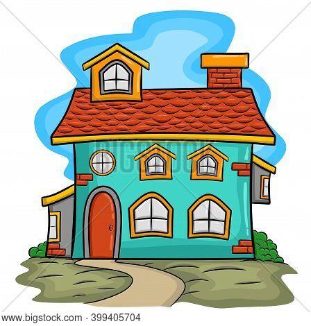 Vector Cartoon Common House Isolated, Vector Cartoon Common House Isolated