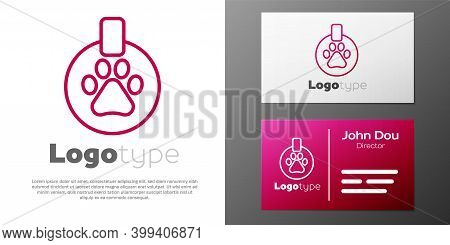 Logotype Line Collar With Name Tag Icon Isolated On White Background. Supplies For Domestic Animal.
