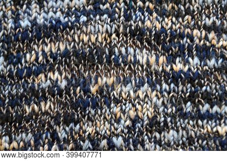 Blue Melange Smooth Knitted Texture For Textile Background