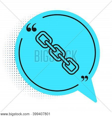 Black Line Chain Link Icon Isolated On White Background. Link Single. Hyperlink Chain Symbol. Blue S