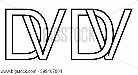 Logo Vd And Dv Icon Sign Two Interlaced Letters V D, Vector Logo Vd Dv First Capital Letters Pattern