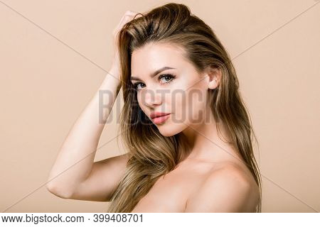 Horizontal Beauty Portrait Of Attractive Young Half-naked Caucasian Blond Woman With Natural Makeup,