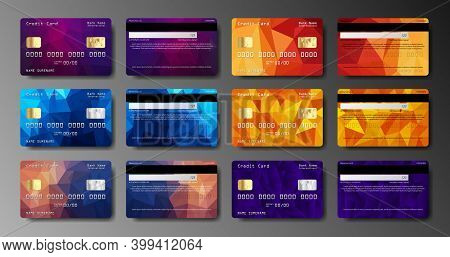 Set Of Realistic Credit Card Two Sides Isolated. Detailed Glossy Cards. Credit Debit Card Mockup