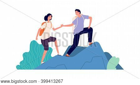 Travellers Climb Mountain. Cartoon Tourists, Backpackers Vacations. Active Sport People, Man Woman S