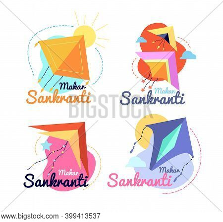 Makar Sankranti Festival. Promotion Label, Indian Pongal Fest Banners With Colorful Flying Kite. Par