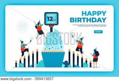 12th Birthday Vector Illustration With Health Protocol. Happy Quarantine Birthday Party. Birthday Si