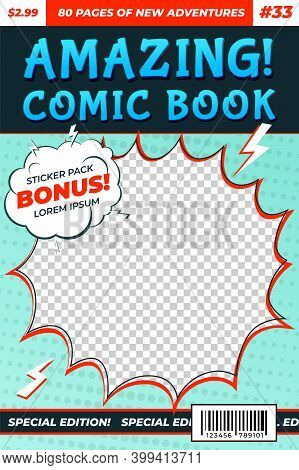 Comic Book Cover. Comics Template, Funny Image Magazine Card. Cartoon Superhero Flyer Title Page, Re