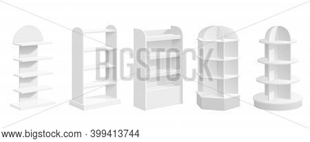 Product Exhibit Stand. Store Display, Modern Blank Supermarket Shelf Realistic Mockup. White 3d Prom