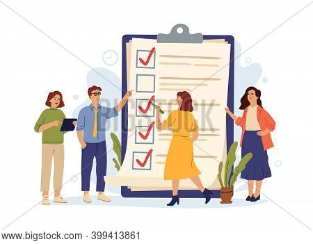 Business People Checklist. Manager Achieves Tasks, Complete Test Or To Do List. Team Work, Successfu