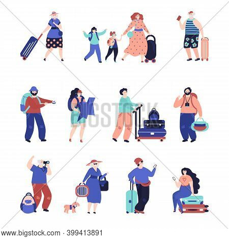 Travel People. Travellers Couple, Seniors Tourist With Suitcase. Single Vacation Character, Airport