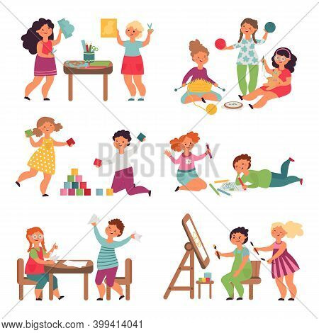 Children Play Together. Isolated Child Playing, Funny Childish Teamwork. Friends In Creative Lab, Li