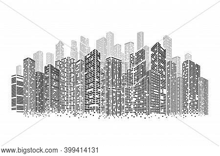 Dots Buildings. Isolated Architecture City, Square Cityscape On Skyline. Modern Construction, Busine