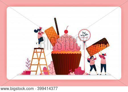 Halal Food Menu Illustration Of Sweet Strawberry Cupcake. Muffin With Snack Waffle, Chocolate Stick